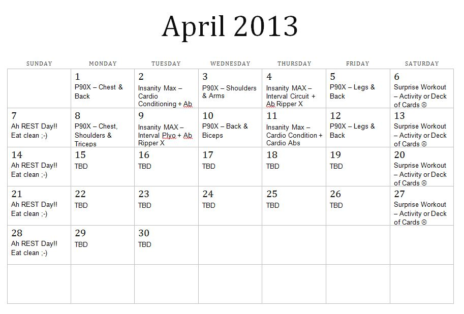 Results Calendar April : Workout calendars for may search results calendar